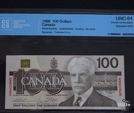 Bank of Canada Specimen $100